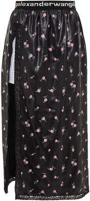 Alexander Wang Lace-trimmed Coated Floral-print Satin Midi Skirt