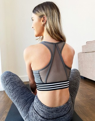 South Beach open mesh back detail sports bra in grey