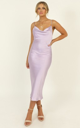 Showpo Before The Storm dress in lilac satin - 6 (XS) Hens Night