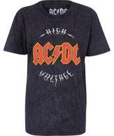 River Island Womens Black acid wash ACDC band boyfriend T-shirt