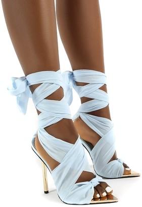 Public Desire Uk Huni Wide FIt Ribbon Tie Up Gold Stiletto Heels