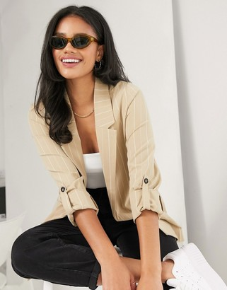 Stradivarius pin stripe blazer in beige