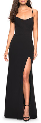 La Femme Square-Neck Strappy-Back Jersey Gown with Slit