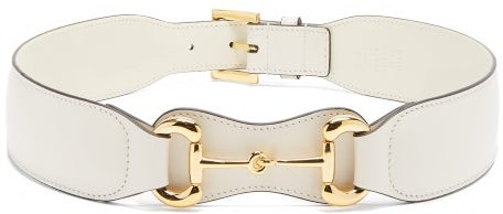Gucci Horsebit Leather Belt - White