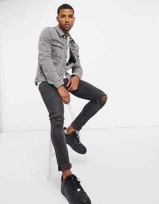 Asos Dark Future ASOS DESIGN Dark Future skinny western denim jacket in gray