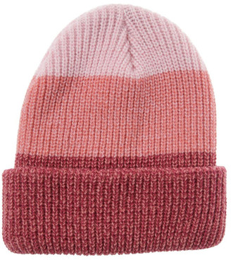 Miss Shop Tri-Colour Fold-Up Beanie in Pink