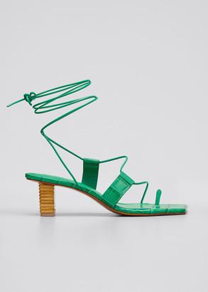 Mercedes Castillo Violete Croco Ankle-Wrap Sandals