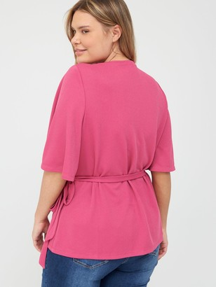 V By Very Curve Jersey Wrap Top - Pink