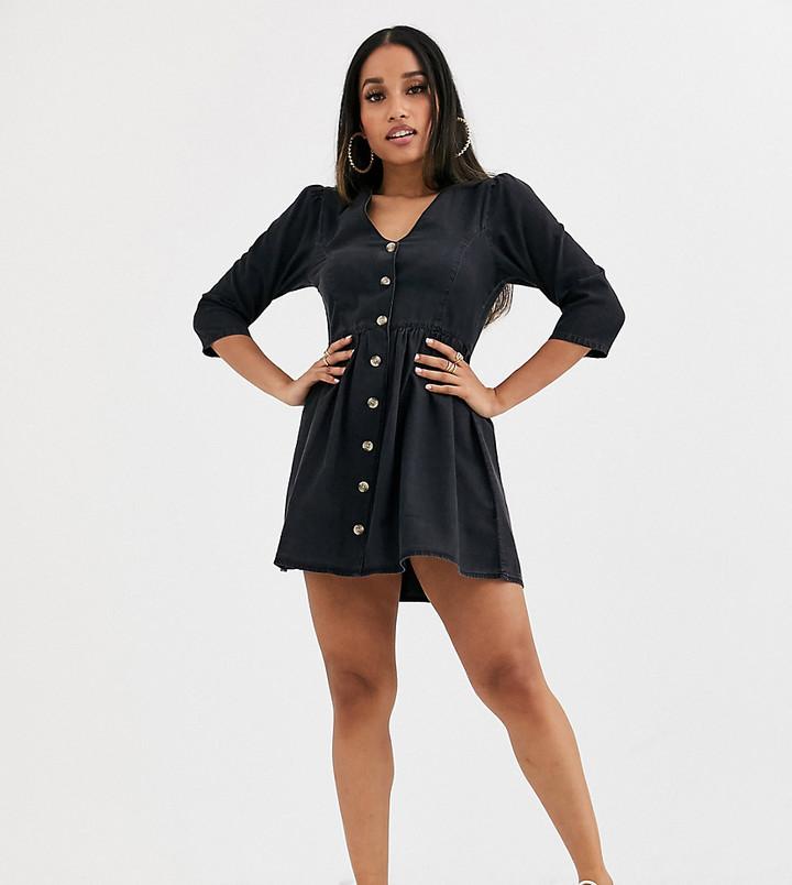 ASOS DESIGN Petite soft denim tea dress in black