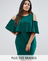 Club L Plus Cold Shoulder Dress With Overlay