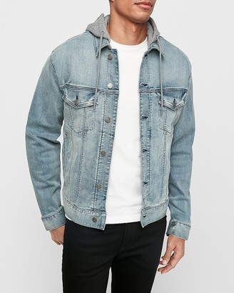 Express Hooded Hyper Stretch Denim Jacket