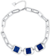 GUESS Silver-Tone & Blue Imitation Python Necklace