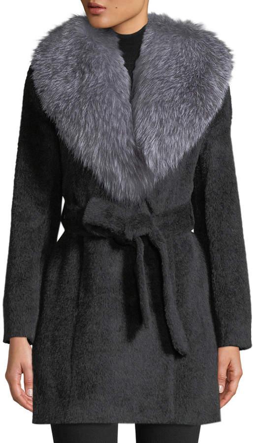 Sofia Cashmere Oversized Fur-Collar Belted Wrap Coat