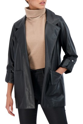 Sebby Collection Roll Up Sleeve Faux Leather Blazer