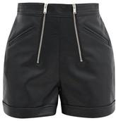 Stella McCartney Zipped Faux-leather Shorts - Womens - Black