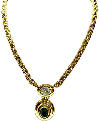 One Kings Lane Vintage Givenchy Glass Emerald Gold Necklace - Wisteria Antiques Etc