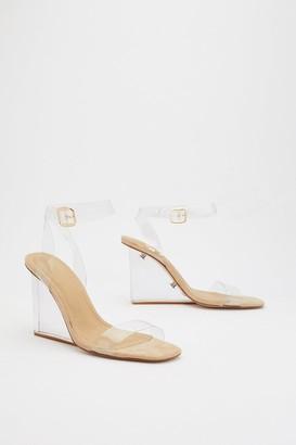 Nasty Gal Womens Build Me Up Clear Wedge Heels - Beige - 6