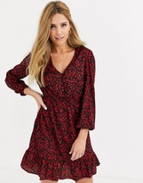 New Look button detail mini dress in red ditsy floral