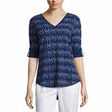 Liz Claiborne 3/4 Sleeve V Neck T-Shirt-Talls