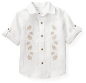 Janie and Jack Embroidered Linen Shirt