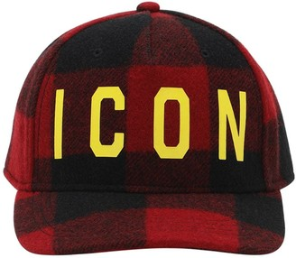 DSQUARED2 Icon Checked Wool Baseball Hat