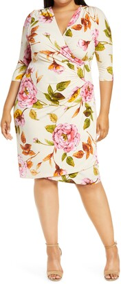 Kiyonna Ciara Floral Cinch Waist Jersey Dress