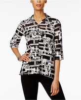 JM Collection Petite Textured Mesh Shirt, Only at Macy's