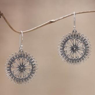 Novica Handmade Sterling Silver 'Dazzling Suns' Earrings