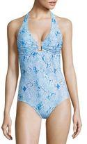 Melissa Odabash Tampa Surf Printed Halter One-Piece Swimsuit