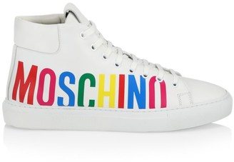 Moschino Logo High-Top Leather Sneakers