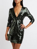 Charlotte Russe Sequin V-Neck Bodycon Dress
