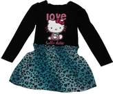 "Hello Kitty Little Girls Blue Leopard Spot ""Love"" Print Dress"