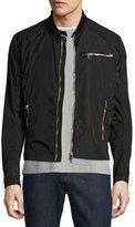 Moncler Mercure Nylon Moto Jacket with Leather Trim, Black