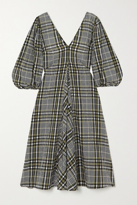 Ganni Checked Cotton-blend Seersucker Midi Dress - Army green