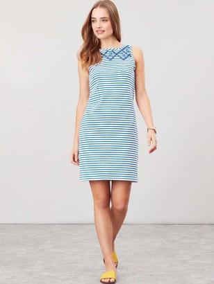 Joules Riva Sleeveless Jersey Print Dress - White/Blue