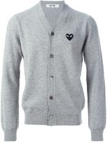 Comme des Garcons logo patch v-neck cardigan - men - Wool - XL