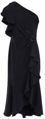 Marchesa One-shoulder Ruffled Embellished Crepe Dress