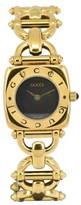 Gucci 6400L Gold Plated with Black Dial 21.5mm Womens Watch