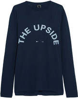 The Upside Cutout Printed Cotton And Linen-blend Jersey Top - Navy