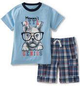 Kids Headquarters Blue 'Little Genius' Tee & Plaid Shorts - Infant Toddler & Boys