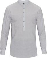 Giorgio Armani Granddad-collar wrinkle-weave cotton shirt