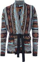 Laneus patterned wrap cardigan