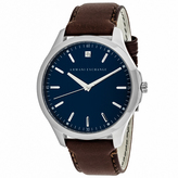 Giorgio Armani Exchange Classic AX2181 Men's Brown Leather and Stainless Steel Watch with Diamond Accent