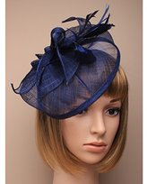 Inca Navy Fascinator on Headband/ Clip-in for Weddings, Races and Occasions-5463