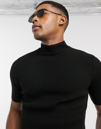 ASOS DESIGN knitted muscle fit rib turtle neck t-shirt in black