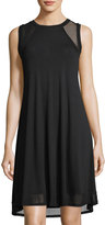 Neiman Marcus Mesh-Inset High-Low Tank Dress