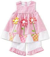 Bonnie Jean Little Girls 2T-4T Seersucker Checked Flower Pot Dress & Capris Set