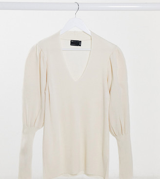 ASOS DESIGN Maternity v-neck jumper with volume sleeve in cream