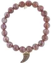 Sydney Evan Medium Horn Charm On Mauve Moonstone Beaded Bracelet