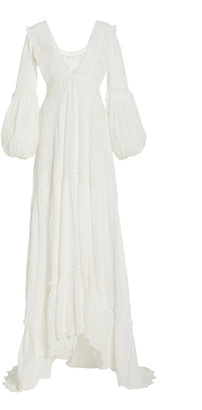 LoveShackFancy Donnie Embroidered-Eyelet Swiss Dot Cotton Maxi Dress